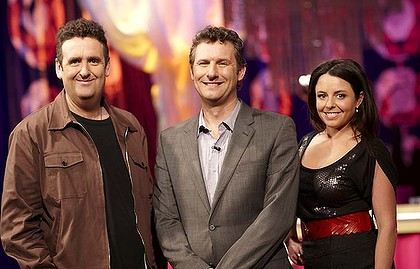 The cast from Spicks and Specks Alan Brough, Adam Hills and Myf Warhurst get set to say goodbye. Photo: Supplied